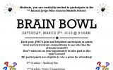 Brain Bowl – Saturday, March 3rd, 2018 @ 9:00 am