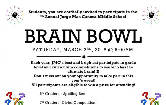 Brain Bowl – Saturday, March 3rd, 2018 @ 9:00 am