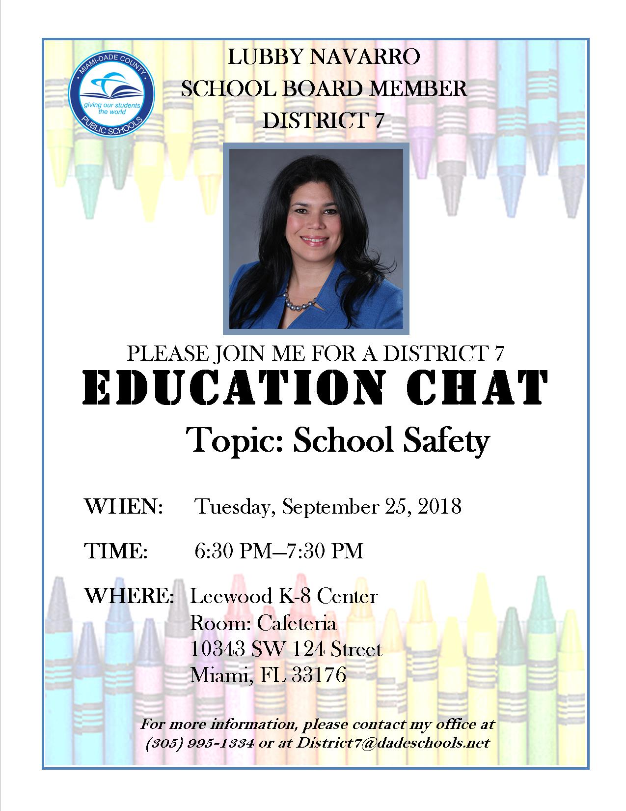 Education Chat with Lubby Navarro @ Leewood K-8 Center Cafeteria