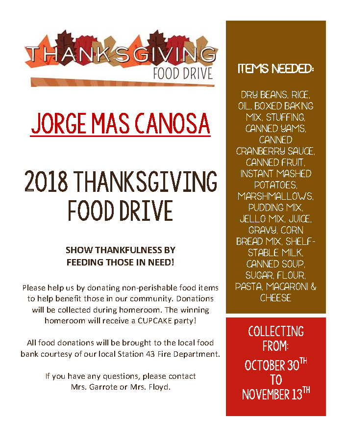 JMC Food Drive 2018 Flyer